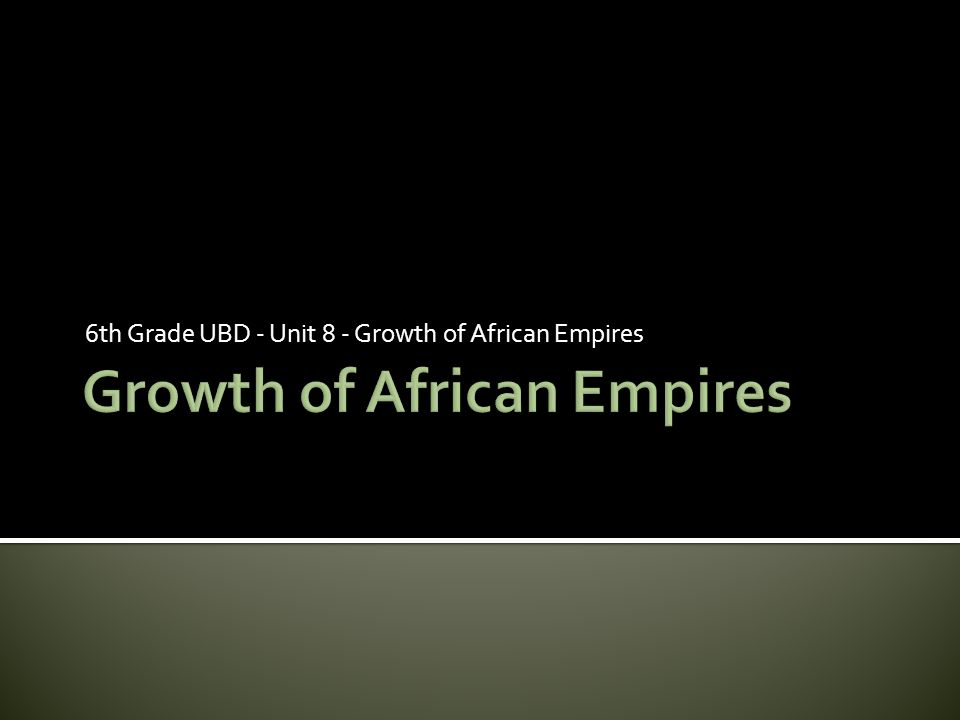 6th Grade UBD - Unit 8 - Growth of African Empires