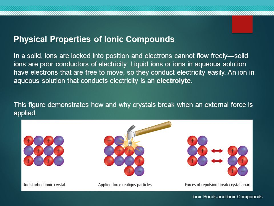 Physical Properties of Ionic Compounds In a solid, ions are locked into position and electrons cannot flow freely—solid ions are poor conductors of el