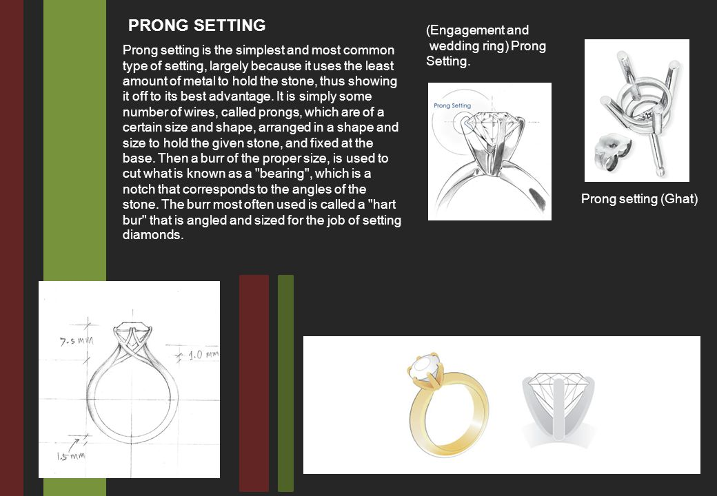 Prong setting is the simplest and most common type of setting, largely because it uses the least amount of metal to hold the stone, thus showing it off to its best advantage.