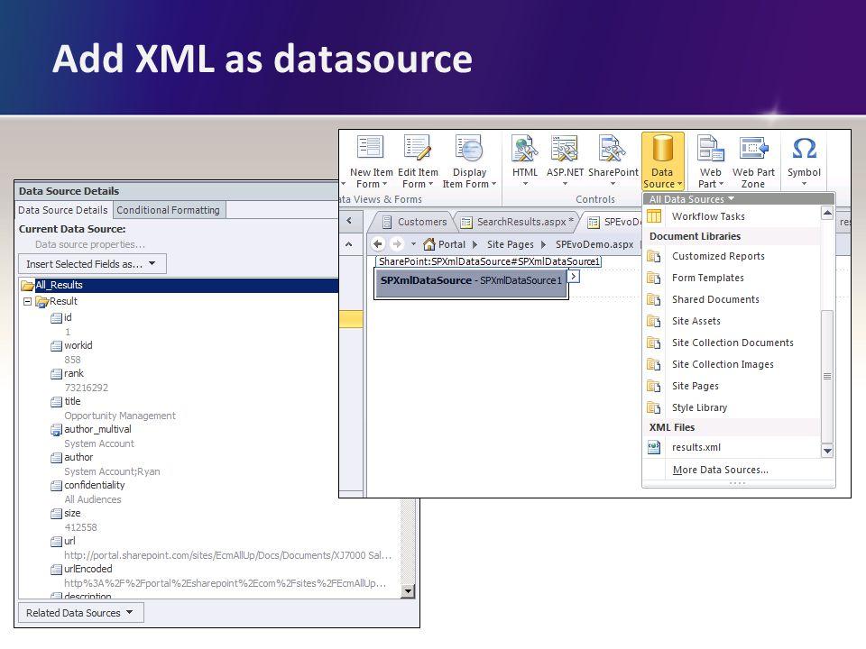 Add XML as datasource
