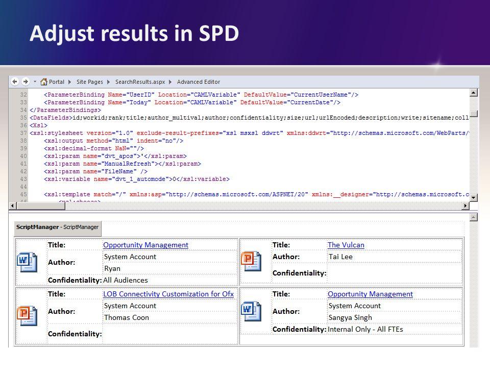 Adjust results in SPD