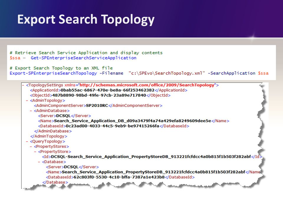 Export Search Topology