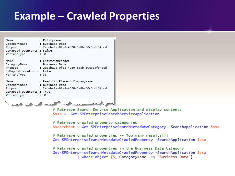 Example – Crawled Properties