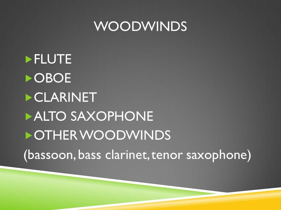 WOODWINDS  FLUTE  OBOE  CLARINET  ALTO SAXOPHONE  OTHER WOODWINDS (bassoon, bass clarinet, tenor saxophone)