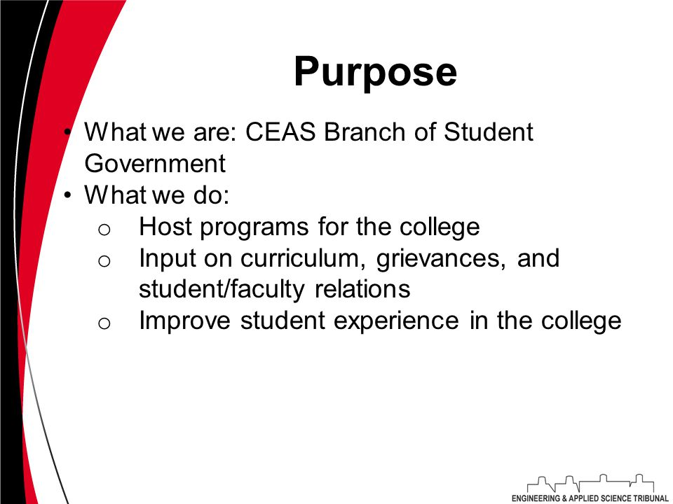 Purpose What we are: CEAS Branch of Student Government What we do: o Host programs for the college o Input on curriculum, grievances, and student/faculty relations o Improve student experience in the college