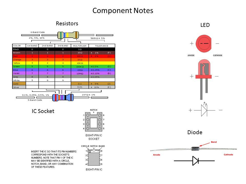 Component Notes LED IC Socket Diode Resistors
