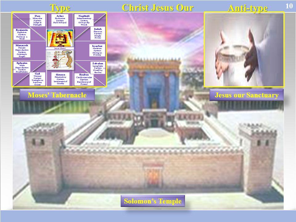 10 Solomon's Temple Moses' TabernacleJesus our Sanctuary Type Type Christ Jesus Our Anti-type