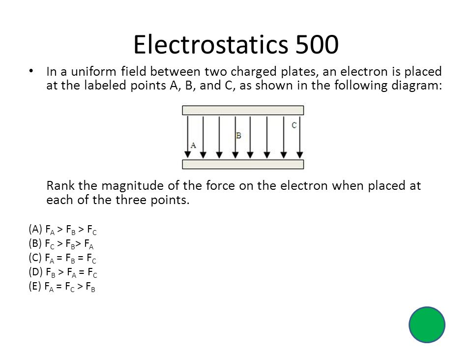 Electrostatics 500 In a uniform field between two charged plates, an electron is placed at the labeled points A, B, and C, as shown in the following diagram: Rank the magnitude of the force on the electron when placed at each of the three points.