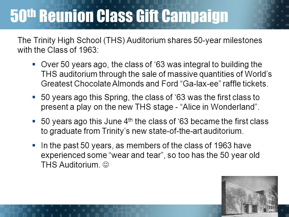 50 th Reunion Class Gift Campaign The Trinity High School (THS) Auditorium shares 50-year milestones with the Class of 1963:  Over 50 years ago, the class of '63 was integral to building the THS auditorium through the sale of massive quantities of World's Greatest Chocolate Almonds and Ford Ga-lax-ee raffle tickets.