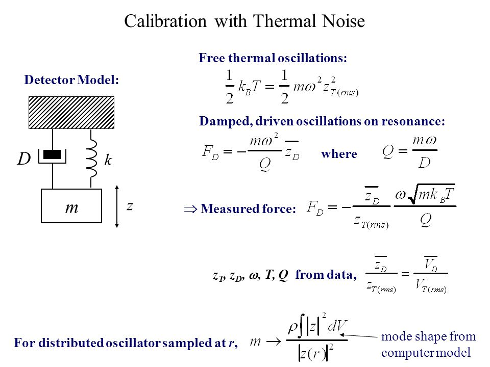 m D Calibration with Thermal Noise Free thermal oscillations: Damped, driven oscillations on resonance: where k z z T, z D, , T, Q from data, For dis