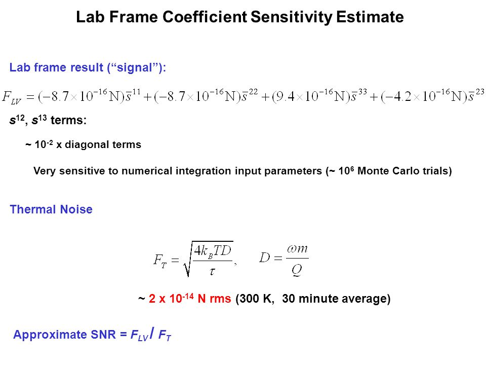 "Lab Frame Coefficient Sensitivity Estimate Lab frame result (""signal""): s 12, s 13 terms: ~ 10 -2 x diagonal terms Very sensitive to numerical integra"