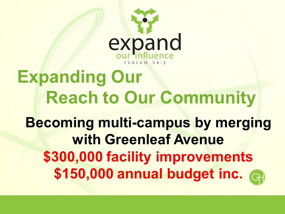 Expanding Our Reach to Our Community Becoming multi-campus by merging with Greenleaf Avenue $300,000 facility improvements $150,000 annual budget inc.
