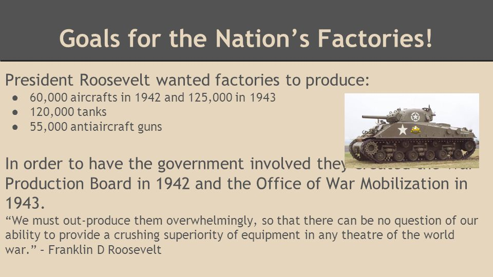 Goals for the Nation's Factories.