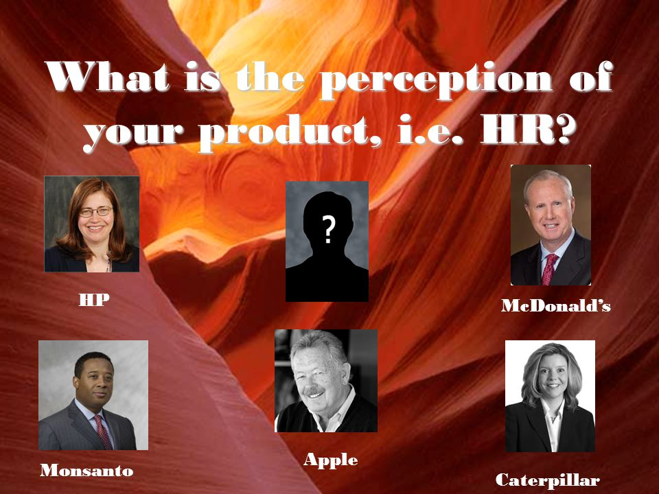 What is the perception of your product, i.e. HR HP McDonald's Apple Monsanto Caterpillar