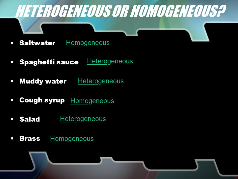 Types of Heterogeneous Mixtures Colloids –Particles never settle –Displays the Tyndall Effect Scattering of light particles Ex) Fog, milk, shaving cream Suspensions –Visible particles settle –Require agitation to stay mixed Ex) OJ, Italian dressing, sand & water