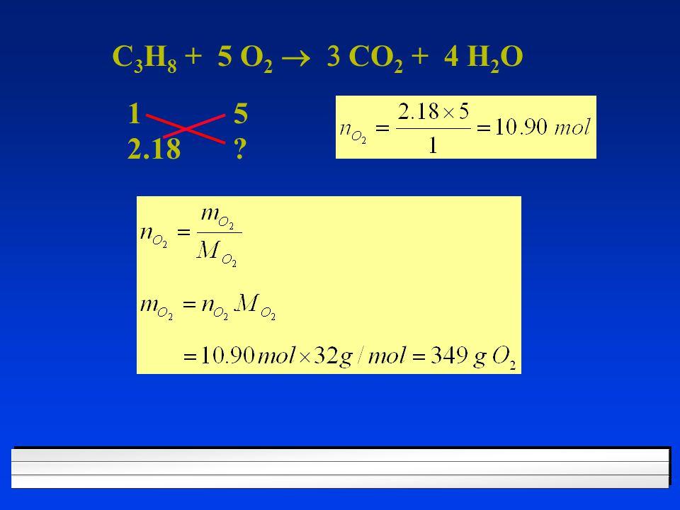 C 3 H 8 + 5 O 2  CO 2 + 4 H 2 O 1 5 2.18