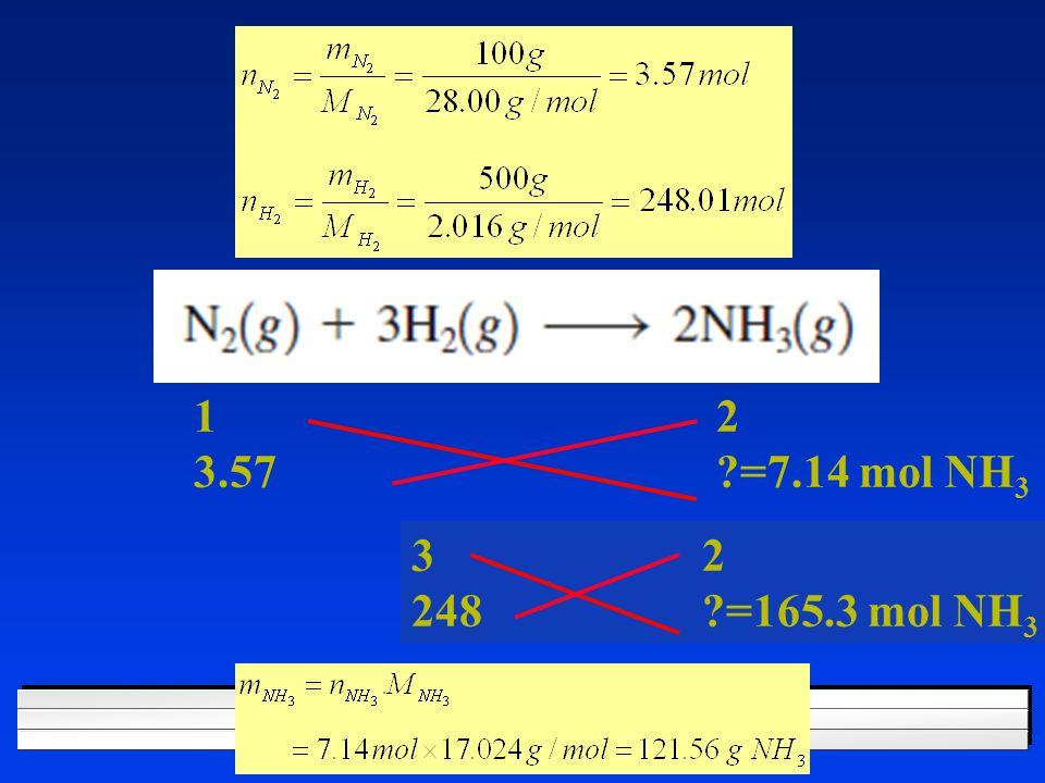 1 2 3.57 =7.14 mol NH 3 3 2 248 =165.3 mol NH 3