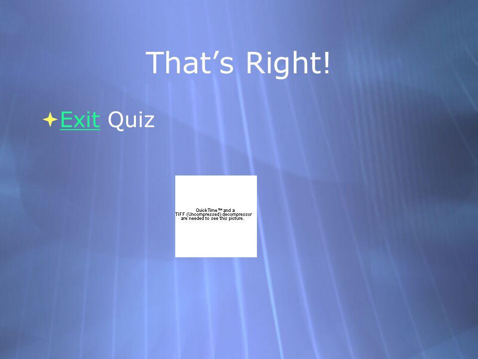 That's Right!  Exit Quiz Exit  Exit Quiz Exit