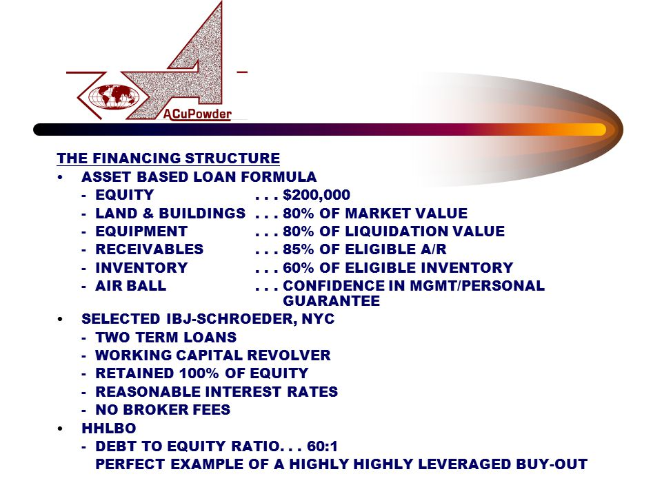 THE FINANCING STRUCTURE ASSET BASED LOAN FORMULA - EQUITY... $200,000 - LAND & BUILDINGS... 80% OF MARKET VALUE - EQUIPMENT... 80% OF LIQUIDATION VALU