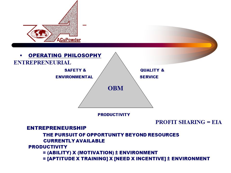 OPERATING PHILOSOPHY SAFETY & QUALITY & ENVIRONMENTAL SERVICE PRODUCTIVITY ENTREPRENEURSHIP THE PURSUIT OF OPPORTUNITY BEYOND RESOURCES CURRENTLY AVAI