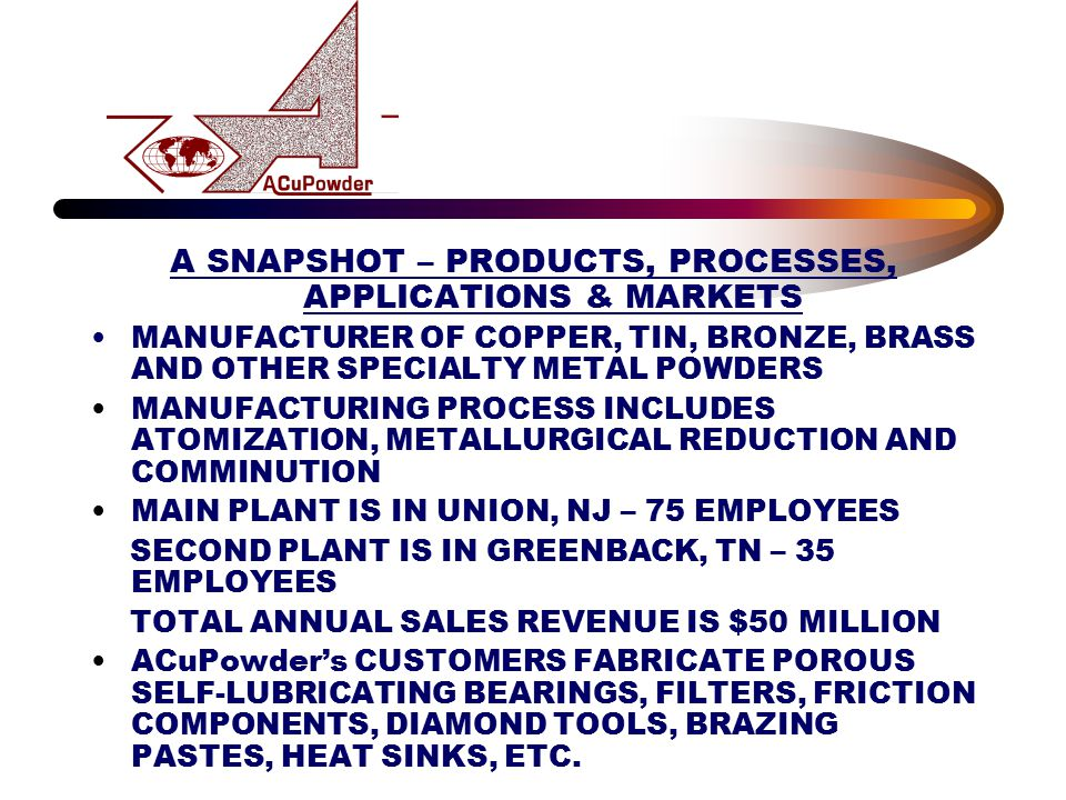 A SNAPSHOT – PRODUCTS, PROCESSES, APPLICATIONS & MARKETS MANUFACTURER OF COPPER, TIN, BRONZE, BRASS AND OTHER SPECIALTY METAL POWDERS MANUFACTURING PR