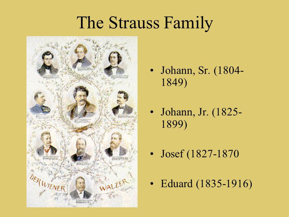 The Strauss Family Johann, Sr. (1804- 1849) Johann, Jr.