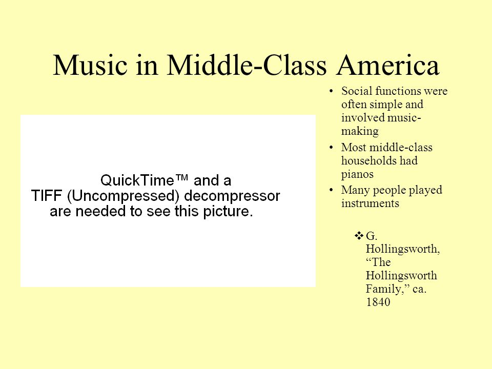 Music in Middle-Class America Social functions were often simple and involved music- making Most middle-class households had pianos Many people played instruments  G.