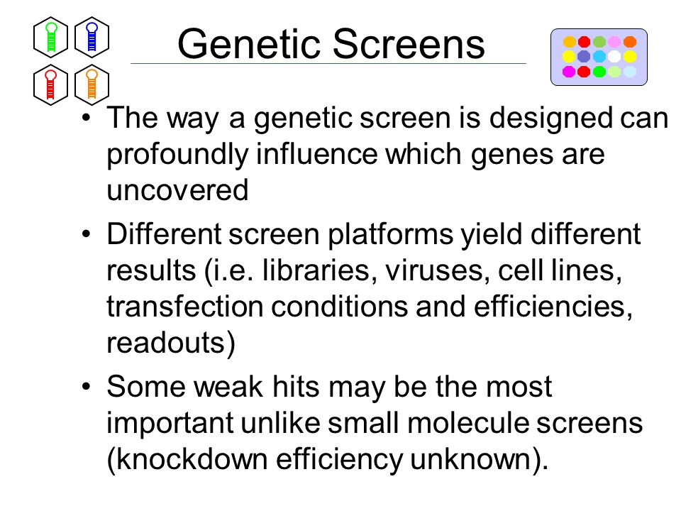 Genetic Screens The way a genetic screen is designed can profoundly influence which genes are uncovered Different screen platforms yield different results (i.e.
