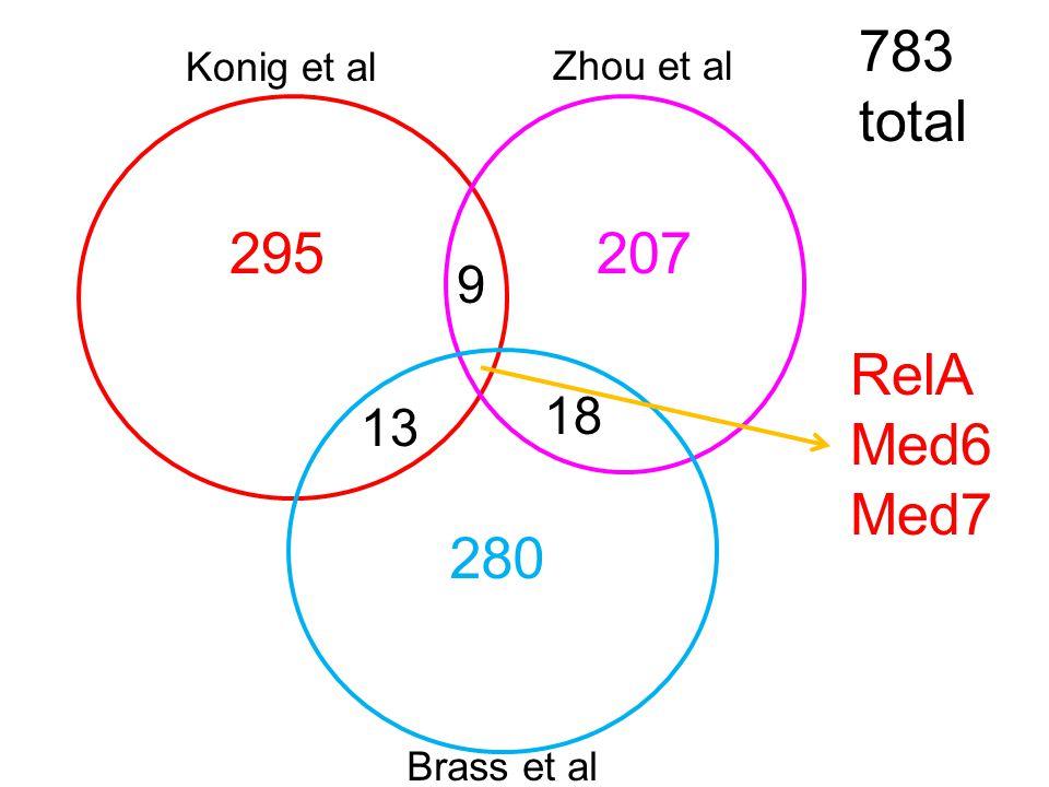 18 13 9 207 280 295 Brass et al Zhou et al Konig et al RelA Med6 Med7 783 total