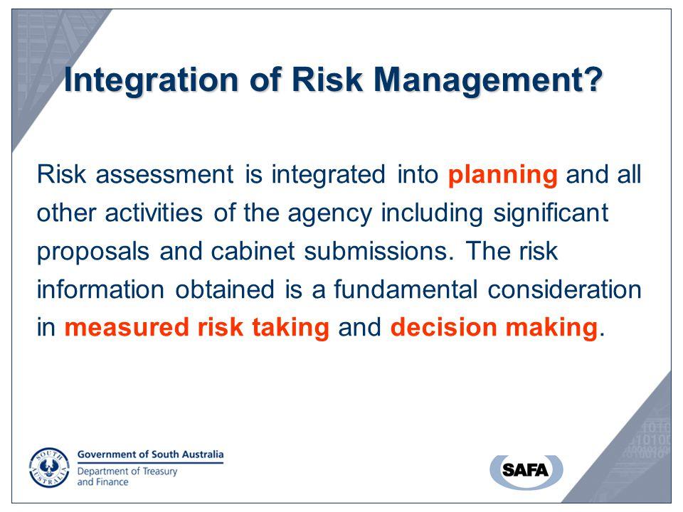 Integration of Risk Management.