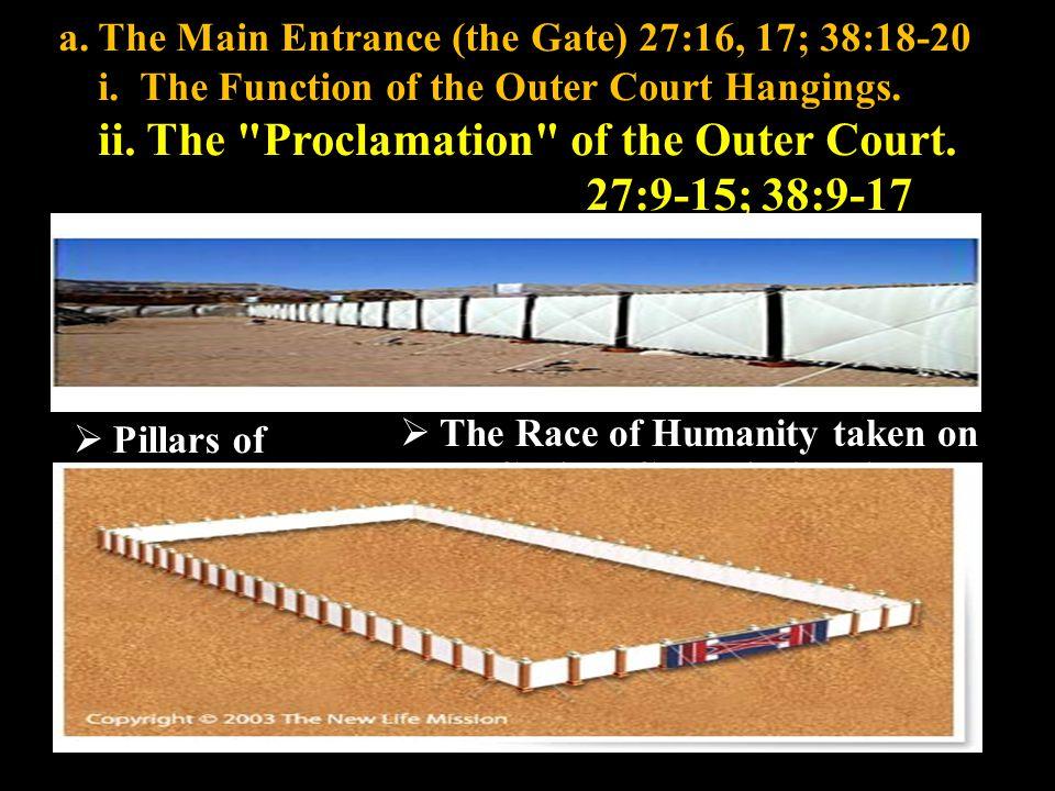 a.The Main Entrance (the Gate) 27:16, 17; 38:18-20 i.