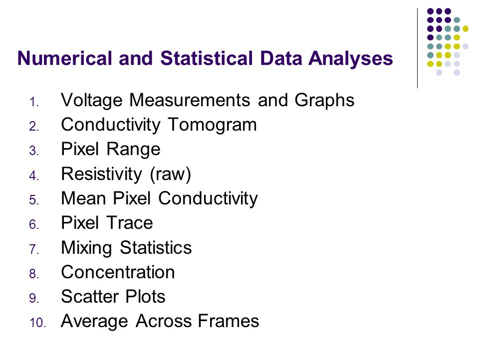 Numerical and Statistical Data Analyses 1. Voltage Measurements and Graphs 2. Conductivity Tomogram 3. Pixel Range 4. Resistivity (raw) 5. Mean Pixel