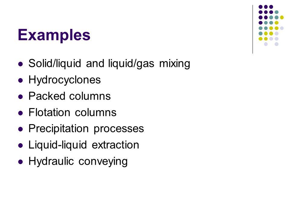 Examples Solid/liquid and liquid/gas mixing Hydrocyclones Packed columns Flotation columns Precipitation processes Liquid-liquid extraction Hydraulic conveying