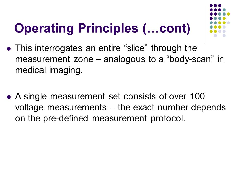 Operating Principles (…cont) This interrogates an entire slice through the measurement zone – analogous to a body-scan in medical imaging.