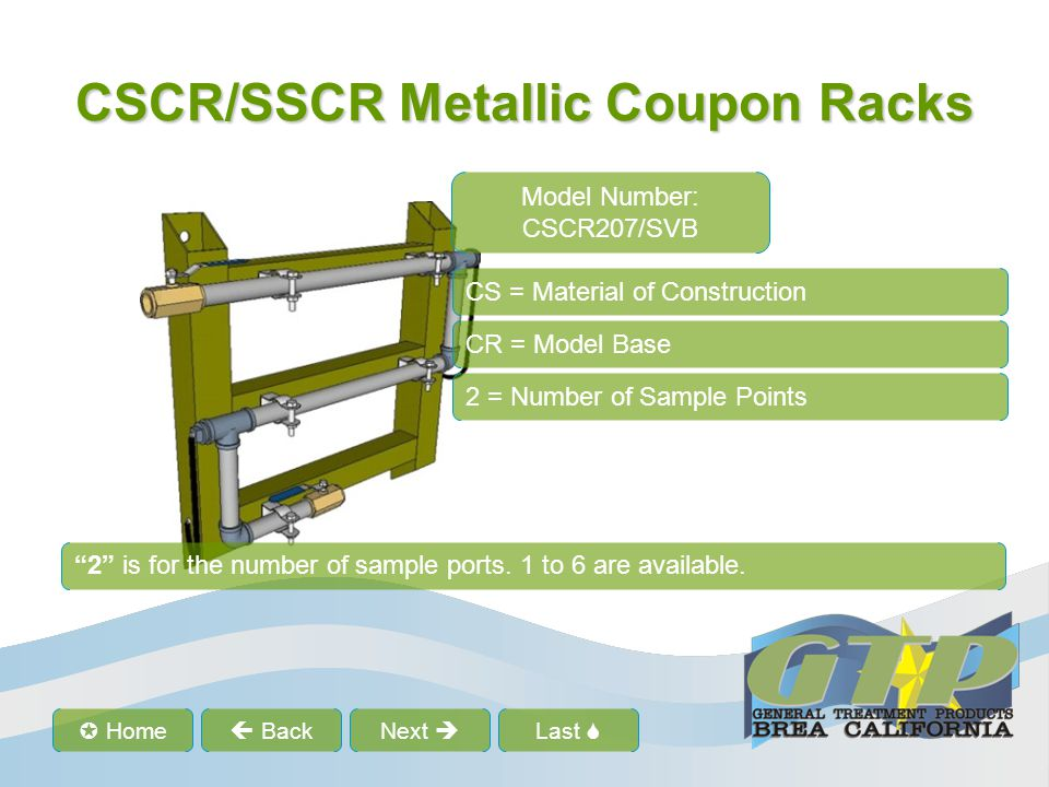 """Last  Home  BackNext  CSCR/SSCR Metallic Coupon Racks CS = Material of Construction CR = Model Base 2 = Number of Sample Points """"2"""" is for the num"""