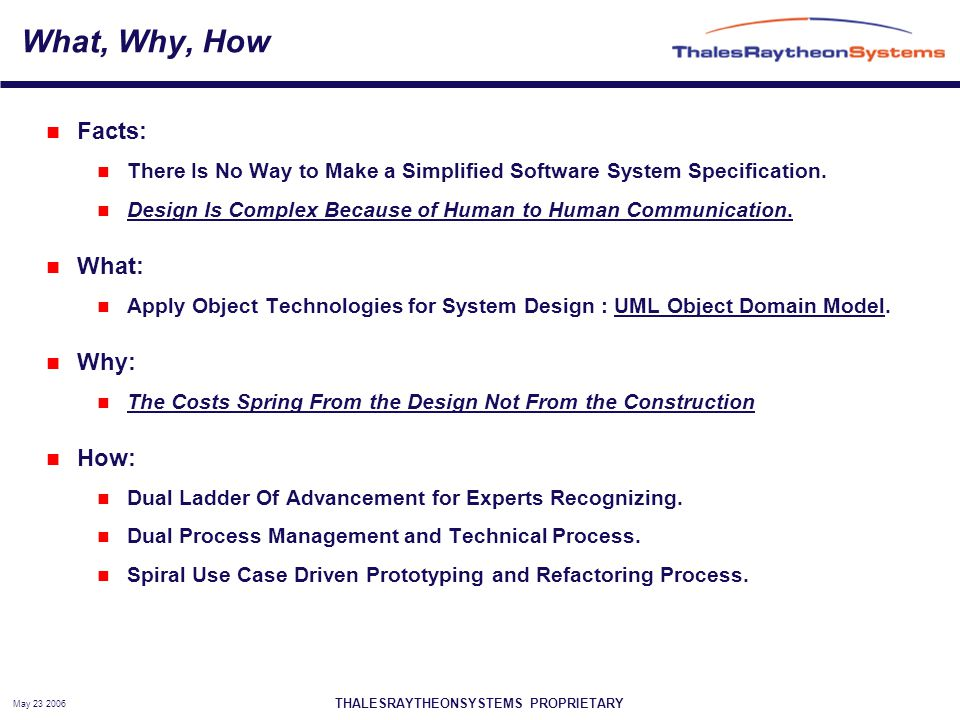 THALESRAYTHEONSYSTEMS PROPRIETARY May 23 2006 What, Why, How Facts: There Is No Way to Make a Simplified Software System Specification.