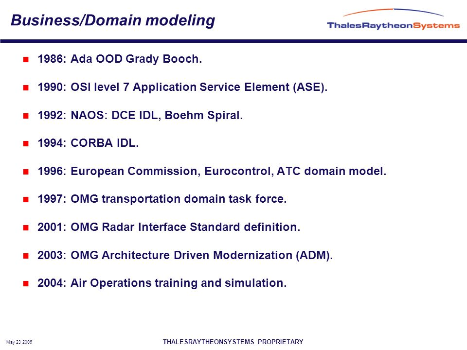 THALESRAYTHEONSYSTEMS PROPRIETARY May 23 2006 Business/Domain modeling 1986: Ada OOD Grady Booch.