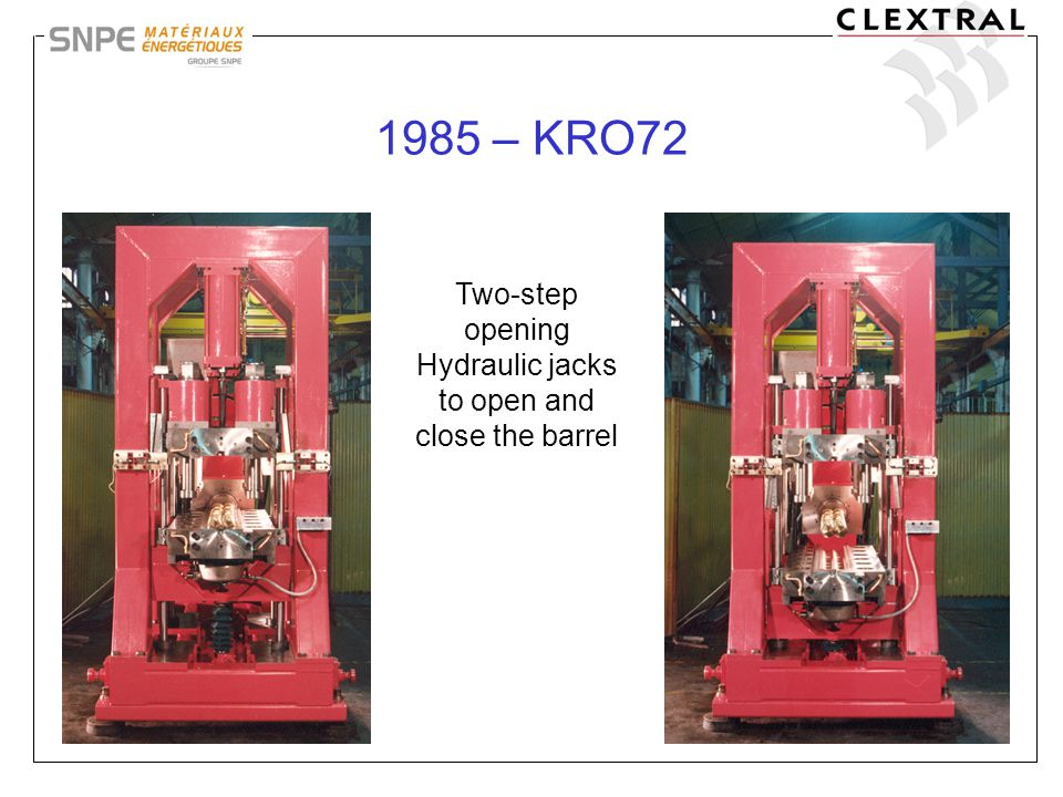 14 1985 – KRO72 Two-step opening Hydraulic jacks to open and close the barrel
