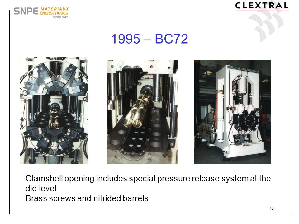 18 1995 – BC72 Clamshell opening includes special pressure release system at the die level Brass screws and nitrided barrels