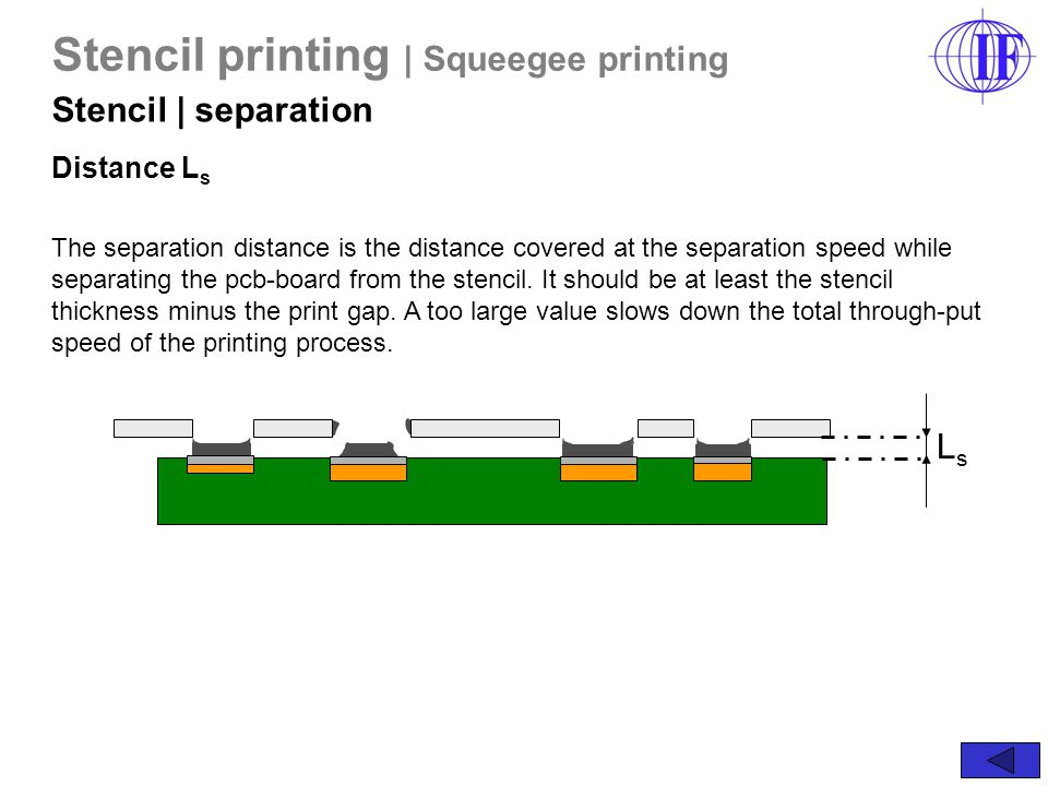 The separation distance is the distance covered at the separation speed while separating the pcb-board from the stencil.