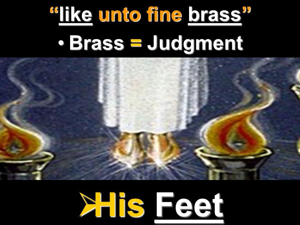 " His Feet ""like unto fine brass"" Brass = JudgmentBrass = Judgment"