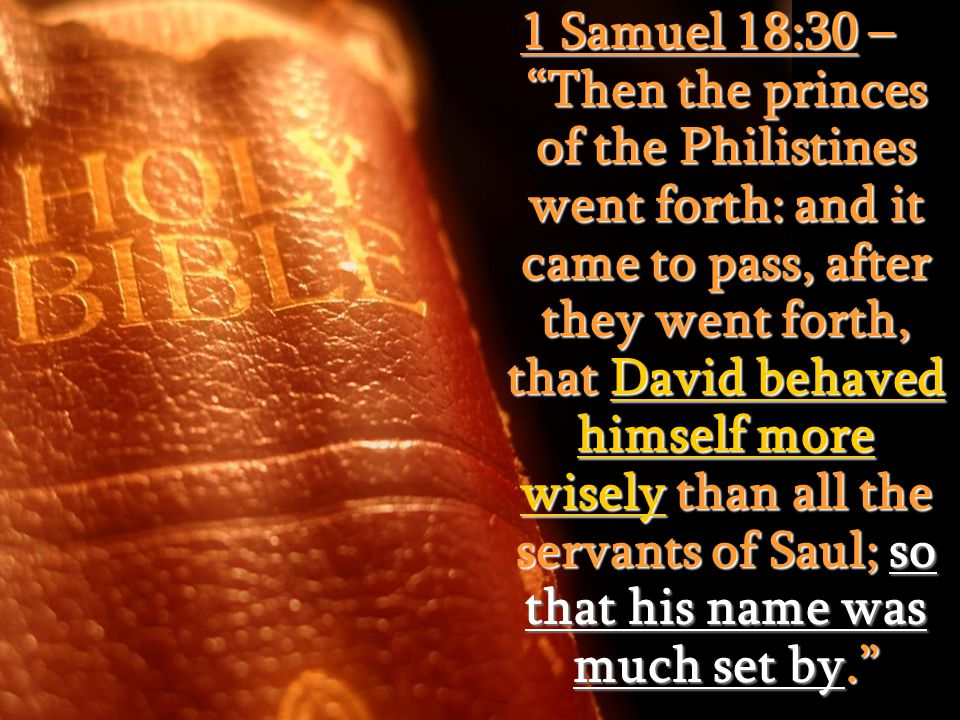 """1 Samuel 18:30 – """"Then the princes of the Philistines went forth: and it came to pass, after they went forth, that David behaved himself more wisely t"""