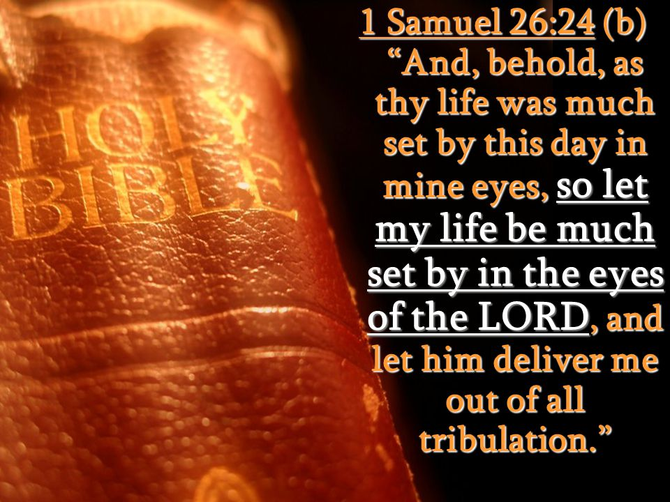 """1 Samuel 26:24 (b) """"And, behold, as thy life was much set by this day in mine eyes, so let my life be much set by in the eyes of the LORD, and let him"""