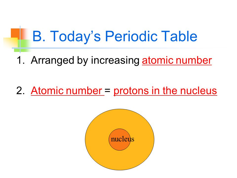 B. Today's Periodic Table 1. Arranged by increasing atomic number 2.