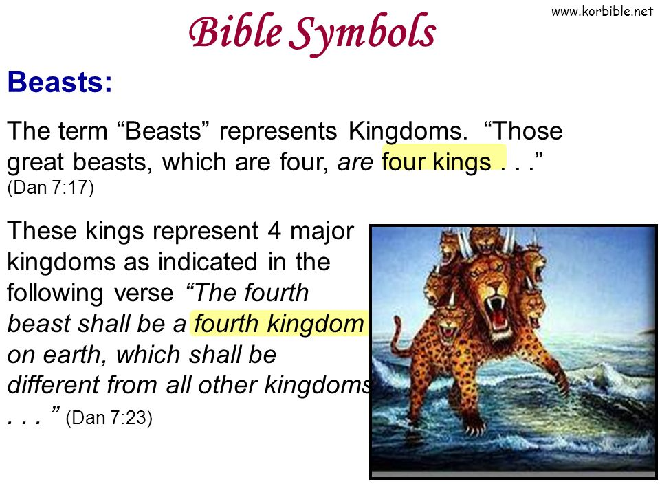 "www.korbible.net Beasts: The term ""Beasts"" represents Kingdoms. ""Those great beasts, which are four, are four kings..."" (Dan 7:17) Bible Symbols These"