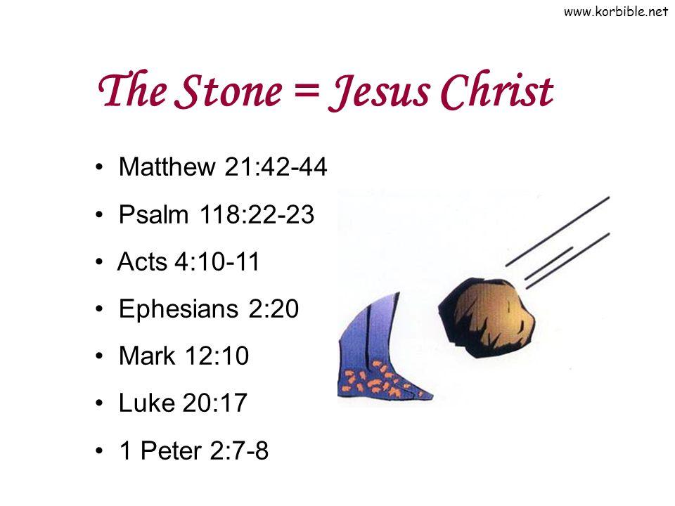 www.korbible.net The Stone = Jesus Christ Matthew 21:42-44 Psalm 118:22-23 Acts 4:10-11 Ephesians 2:20 Mark 12:10 Luke 20:17 1 Peter 2:7-8