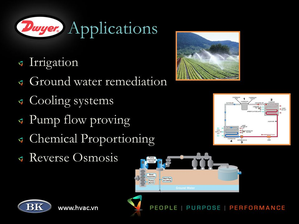 www.hvac.vn Applications Irrigation Ground water remediation Cooling systems Pump flow proving Chemical Proportioning Reverse Osmosis