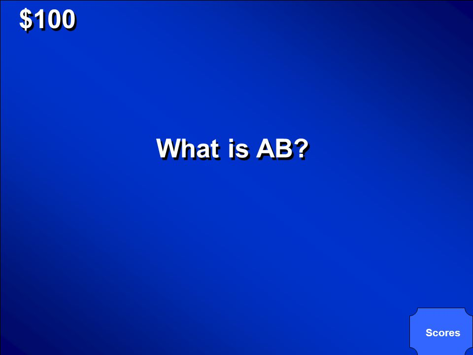© Mark E. Damon - All Rights Reserved $100 What is AB? Scores