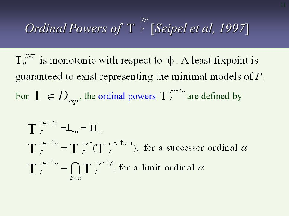 11 Ordinal Powers of T [Seipel et al, 1997] For, the ordinal powers are defined by