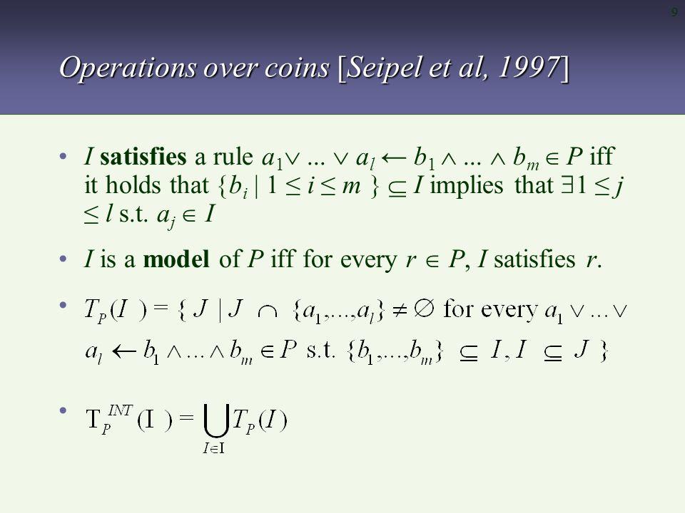 10 Operations over coins [Seipel et al, 1997]